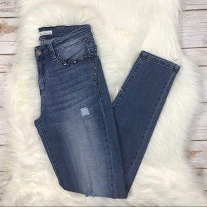 KanCan Distressed Studded Skinny Jeans 27 O0678